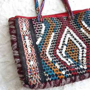 Boho Kilim Purse | Ethnic woven Bag | Metallic